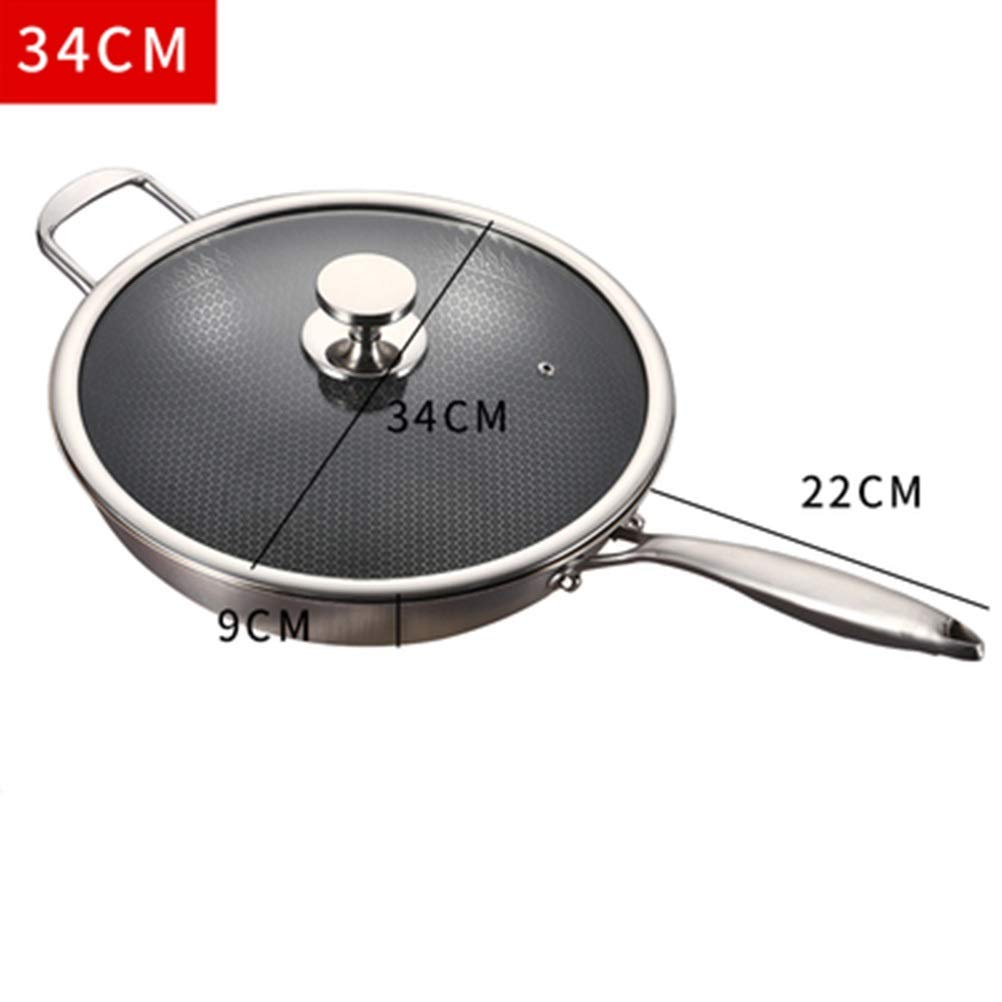 WYQSZ Wok - Multi-function household non-stick pan to reduce smoke cooking suitable for home wok delicate and durable wok -fry pan 2365 (Size : 349cm) by WYQSZ (Image #2)