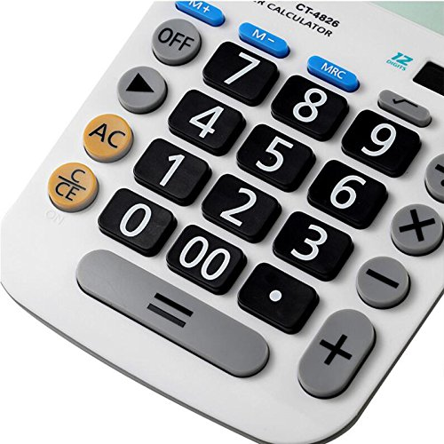 Calculator,12-Digits Solar Battery Button Battery Dual Two Way Power Large Display Standard Office Finacial Desktop Calculators … by e-cholife (Image #2)