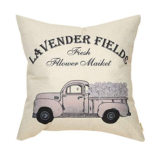 Fjfz Rustic Farmhouse Decor Flower Market Vintage Lavender Truck Sign Spring Summer Country Decoration Cotton Linen Home Decorative Throw Pillow Case Cushion Cover for Sofa Couch, 18
