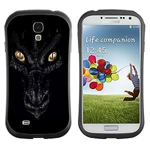 "Hypernova Slim Fit Dual Barniz Protector Caso Case Funda Para SAMSUNG Galaxy S4 IV / i9500 / i9515 / i9505G / SGH-i337 [Ojos Noche Negro Escalas Oro""]"