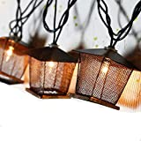 Lidore? 10 Counts Vintage Bronze Iron Nets Lanterns Plug-in String Lights. Great for Indoor/Outdoor Decoration. Best Ambience Decorative Lights. Warm White Glow.