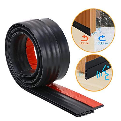 (Door Bottom Seal Strip - Self-Adhesive Under Door Sweep Weather Stripping, Anti-Noise, Anti-Bug in Black, by SUNMON)