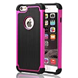 iPhone 6s plus Case ,[Corner Protection] Protective Case Detachable Defender Thin Protective Anti-dirt Scratch Resistant Hard Soft Heavy Duty Rubber Bumper Cover for iPhone 6 6s plus(Black/Rose)