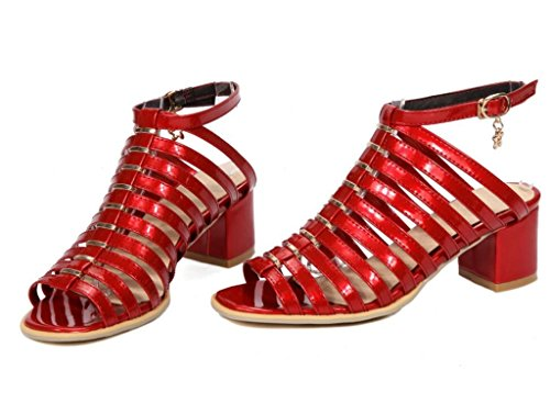 Confort Jours 34 dérapant fête 41 6cm Femme Romaines Les Shopping Red Sandales 41 Talon Xie haut chaussures anti fine Ceinture Tous 8Z1wvTq