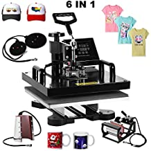 "Superland 6 in 1 Multifunction Sublimation Heat Press Machine T shirts Hat Mug Cap Digital Swing Away Heat Transfer Press Machine 15 X 15 Inch (6 in 1: 15""x15"")"