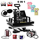 Superland 6 in 1 Multifunction Sublimation Heat Press Machine T shirts Hat Mug Cap Digital Swing Away Heat Transfer Press Machine 15 X 15 Inch (6 in 1: 15
