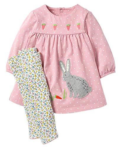 Fiream Girls Cotton Short Sleeves Pajamas Sets 2 Piece Cartoon Toddler Sleepwears