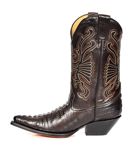 Tacco Scivolare Pelle Of Vera 02CA Marrone House su Stivali di Appuntito Hi Vitello Lunghezza Western Leather in Cowboy dOwwX0Yx