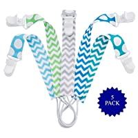 Pacifier Clip - 5 Pack | Unisex | Best Universal Silicone teething Pacifier H...