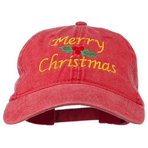 Merry Christmas Mistletoe Embroidered Washed Dyed Cap - Red OSFM ()