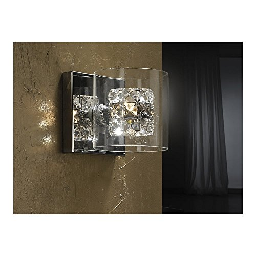 Schuller Spain 391218I4L Modern Chrome Open Jar Wall Light 1 Light Dining Room, Living Room, Hallway LED, Open glass jar wall lamps | ideas4lighting by Schuller