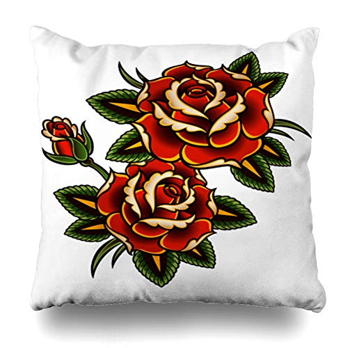 (DIYCow Throw Pillow Cover Pillowcase Summer Red Flower Tattoo Roses Pink Vine Thorn Pattern Border Outline Design Curl Home Decor Design Square Size 20