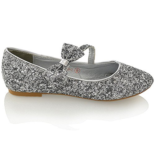 Womens Flat Dolly New Bridal Ladies Silver Bow Pumps 9 GLAM 3 Ballerina Ballet Glitter Size ESSEX Glitter Shoes qx1IwE44