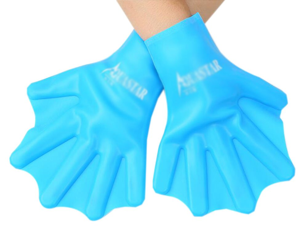 Silicone Swim Gear Fins Hand Webbed Flippers Training Glove for Kids, S, Blue