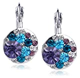 MFV Periwinkle Dazzling Austrian Crystal Drop Earrings in 18k Italian Rose Gold or White Gold-Plating - Fashion Jewelry Accessory for Women - 10 Styles Available