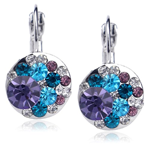 18K Periwinkle Austrian Crystal Drop Earrings, Lead and Nickel Free Dazzling Earring with Unique Lever Backing Design, Multiple Color Available (Purple/Blue - 18K White Gold -