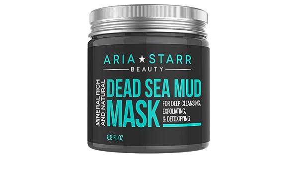 Aria Starr Mascarilla de barro del mar Muerto, para la cara, el acné y los puntos negros, reduce los poros, tratamiento limpiador, natural, para una piel ...