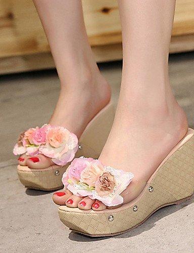 Pink Brown Wedge Open Silicone Toe Brown Women's Dress Shoes Sandals Heel ShangYi Bqvgcv