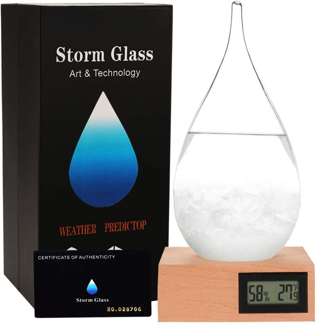 Storm Glass Desktop Fashion Weather Station Water Droplet Weather Forecaster-Forecast Decorative Crystal Glass-Storm Glass Creative Desktop Decoration (X-L)