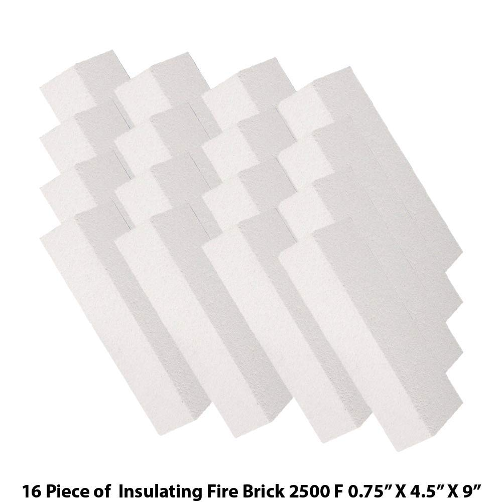 HFK-25 Insulating FireBrick 2500F 0.75'' x 4.5'' x 9'' IFB Box of 16 Fire Bricks for Fireplaces, Pizza Ovens, Kilns, Forges by Unknown