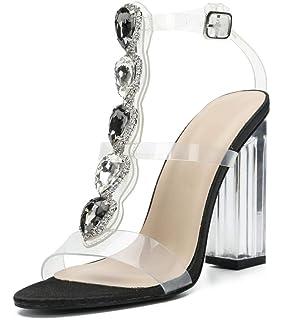 6fa6897b46362 Amazon.com | Cdvintu Womens Cutout Gem Clear Chunky Heels Gladiator ...