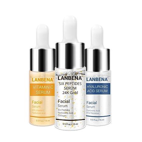 24K Kit de suero facial, ácido hialurónico + vitamina C seis péptidos oro K antienvejecimiento
