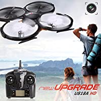 Cytek UDI RC Drone U818A HD+ NEW UPGRADED 2.4GHz 4CH 6 Axis Gyro Headless Mode RC Quadcopter Drone Drones w/HD+ Camera, Extra Battery and One Key Return Home Function