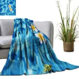 YOYI Bed Blanket Tropical fr gip i Flower Float in Blue Water Comfortable