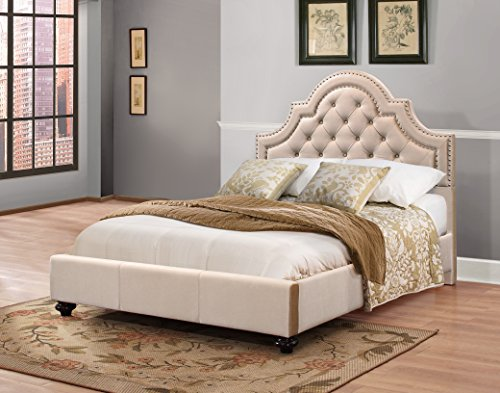 Furniture World Frida Velvet Upholstered Bed with Tufted Headboard and Nail Head Accents, Twin, Cream Velvet (King Single Upholstered Bed Head)