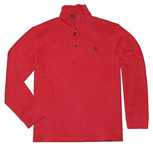 Polo Ralph Lauren Mens Half Zip French Rib Cotton Sweater (Flame Heather, X-Large)