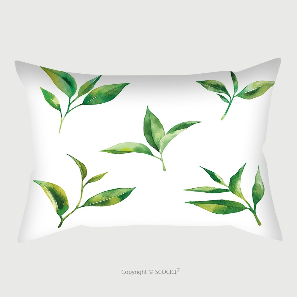 Custom Satin Pillowcase Protector Watercolor Set With Tea Leaves On White Background 378761308 Pillow Case Covers Decorative