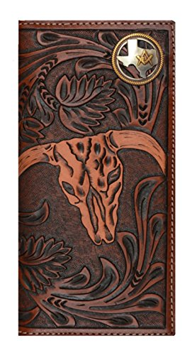 Custom 3D Belt Company New Texas Mason Long Rodeo Checkbook Brown and Tan Cow Skull Wallet Long by Genuine Texas Brand (Image #3)