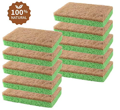 Natural Plant-Based Scrub Sponge by scrub-it, Non-Scratch, Biodegradable scrubbing sponges for Kitchen and Bathroom- Single Wrapped Pack of 10