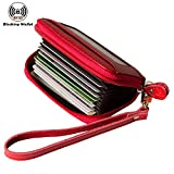 Noedy RFID Blocking Credit Card Holder Compact Wallet Genuine Leather Accordion Purse with Removable Wristlet Strap