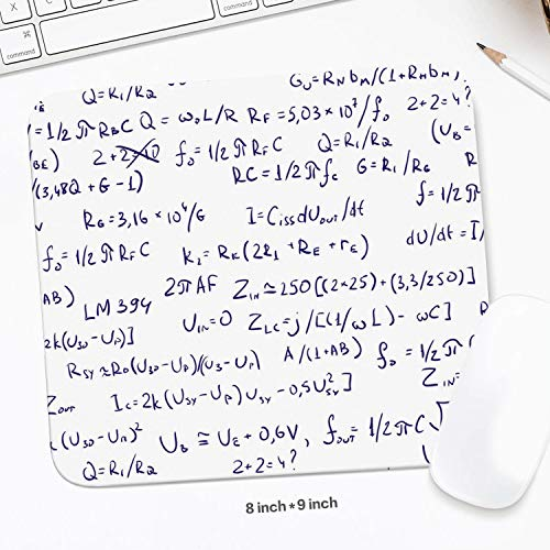 Black Custom Math Formula Equations White Backdrop Cool Resistant to Dirt Pro Game Mouse Mats Home Desk Computer Accessories Laptop Mouse Pads 8 x -