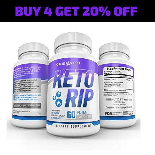Kreil Labs Advanced Keto Weight Loss Fat Burner – Ketogenic Engery Supplement – Burn Fat Instead of Curbs Boost Energy Level – All Natural Ingredients- 60 Capsules 4 Pack