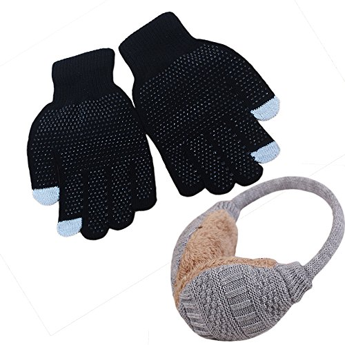 Warm Winter Set-1 Removable Warm Winter Earmuffs,Ear Cover Wrap Adjustable Cold Weather Ski Snow Warm Ear Muffs And 1 Non-Slip Touchscreen Gloves Winter Warm Knit (gray)