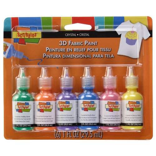 Scribbles 18533 3D Fabric Paint 1 Ounce 6/Pkg-Crystals Duncan Scribbles Shiny Paint