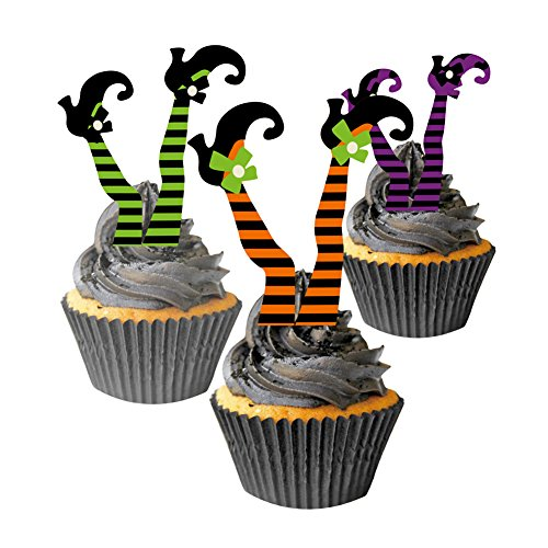 Halloween Witch's Boot Paper Cupcake Toppers Decorations Kit SUNBEAUTY