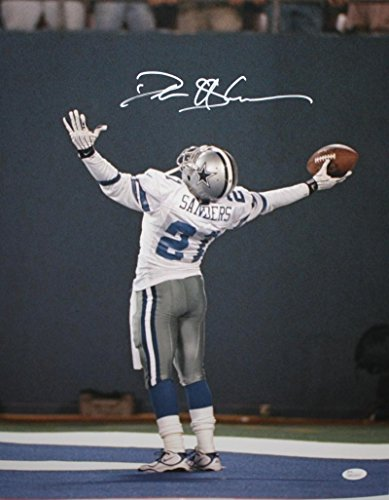 Deion Sanders Signed Top Center 16x20 Dallas Cheering Photo White- JSA W Authenticated