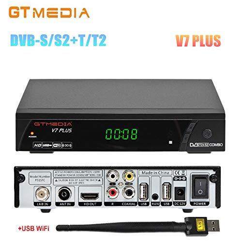 GTMEDIA V7 Plus Full HD 1080P DVB-S/S2+T/T2 Satellite TV Receiver, Supports H.265,PowerVu,Biss Key+USB WiFi