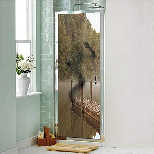 Decorative Privacy Window Film Wooden Pier in Lake with Trees Forest Landscape Foggy Morning in Woodland No-Glue Self Static Cling for Home Bedroom Bathroom Kitchen Office Decor Olive Green Brown
