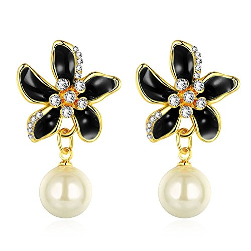Find-me Japanese and Korean Romantic Flower Series Pearl Earrings Female Models Jewelry(F1) (Homemade Infant Princess Costume)