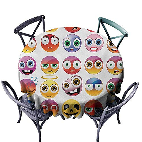 VIVIDX Stain Round Tablecloth,Emoji,Rainbow Colored Cartoon Like Smiley Face Expressions Sad Happy Angry Fierce Art Print,Table Cover for Kitchen Dinning Tabletop Decoratio,50 INCH,Multicolor