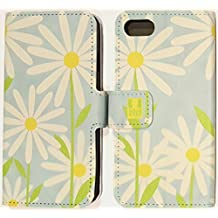 """Case+Film+Charm Wallet with Credit Card Slot Fits Apple iPhone 6/6S/7/7S/8 4.7"""" PU Leather Purse/Clutch/Pouch with Tray, Teal Baby Blue Daisy"""