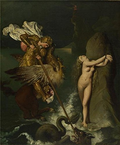 Oil Painting 'Jean-Auguste-Dominique Ingres-Angelica Saved By Ruggiero,19th Century' Printing On Perfect Effect Canvas , 24x29 Inch / 61x74 Cm ,the Best Game Room Artwork And Home Decoration And Gifts Is This Cheap But High Quality Art Decorative Art Decorative Prints On Canvas