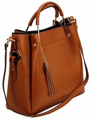 5d518cee4ea94 Bozana Bag Cognac Italy Designer Messenger Damen Handtasche Schultertasche Tasche  Leder Shopper Neu ...