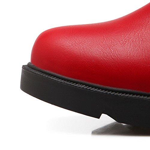 Baja Sólido Rojo Mujeres Puntera Agoolar Botas Caña Redonda Plataforma fwFXAqt