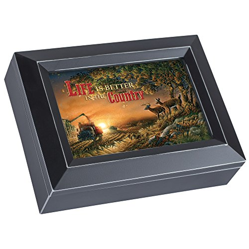 Sunset Harvest Deer Terry Redlin Black Jewelry Music Box Plays Country Roads Take Me Home