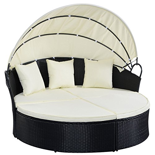 Black Reconfigurable Round Rattan Patio Sofa Daybed Retractable Sun (Reclining Traditional Sofa)